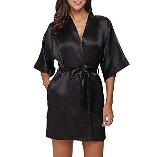 HULKY Solde Donna Pigiama Kimono, Scollo V Elegante Vestaglia Corta in Raso, Camicia da Notte con Cintura Praka Boho(Nero,Small)