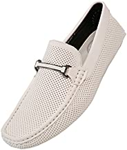 Amali Cola - Driving Moccasins for Men – Mens Slip On Loafers, Moccasins, Slip-on Dress Shoes - Driving Loafers with Matching Color Bit, White, Size 10.5