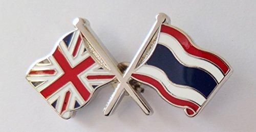 1000 Flags Thailand Flagge & United Kingdom Flagge Fahne Freundschaft Höflichkeit Pin Badge