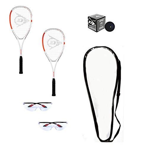 DUNLOP Squashschläger Set Anfänger (2 Schläger, 2 Eyeguards, 1 Ball, Abdeckung)