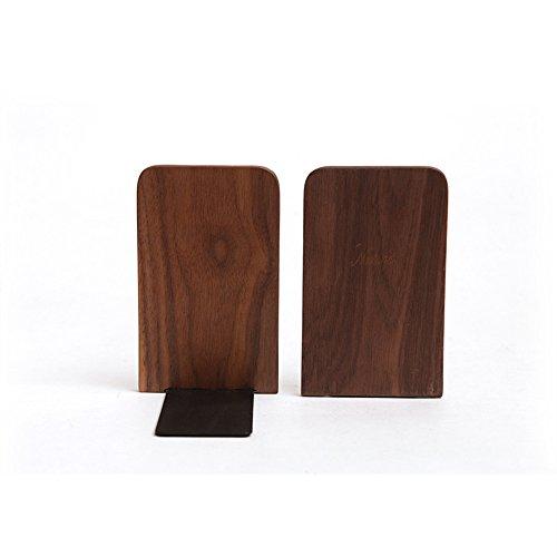 Zafina 木製 ブックエンド 本立て 卓上整理 収納 ブックオーガナイザー 1個入り (四角形)