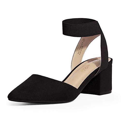 DREAM PAIRS Women's Black Suede Low Block Chunky Heel Ankle Strap Dress Pumps Shoes Size 6.5 M US NICHOLES