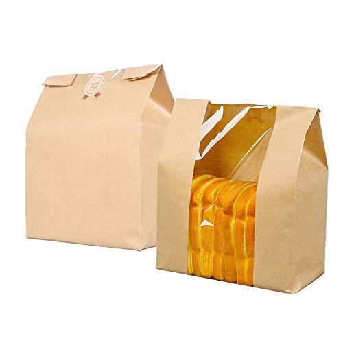 Paper Bread Loaf Bags with Window,Kraft Food Packaging Storage Bakery Bags,Pack of 50