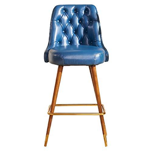 JQQJ barkruk, industrieel en massief hout met koperen poten, barkruk, spons, hoge kwaliteit, voor slaapkamer, thuis, leer, kruk, kruk 53x57x110cm Blauw