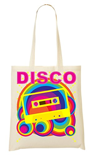 Disco | Tape | Music | Vintage Style | Old-School | Club | Colorful | Simple | Shape Tragetasche Einkaufstasche