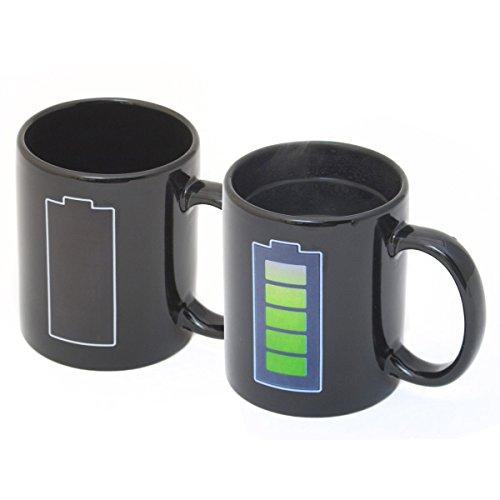 Goods & Gadgets Animierte Kaffeetasse mit Akku-Batterie Kaffeebecher Tee-Tasse Thermoeffekt mit Thermo Wärmeeffekt Farbwechsel