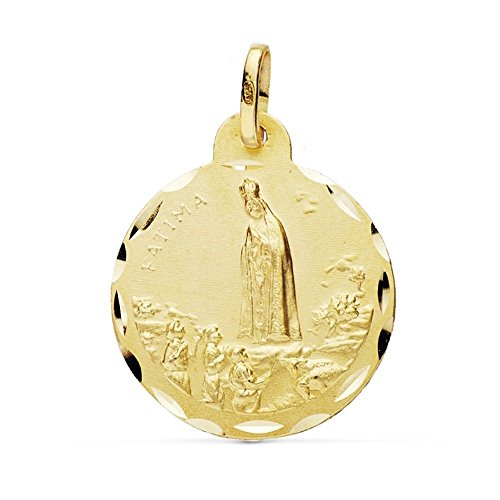 Medalla Oro 18K Virgen Fátima 22mm. [Ab0775Gr] - Personalizable - Grabación Incluida En El Precio