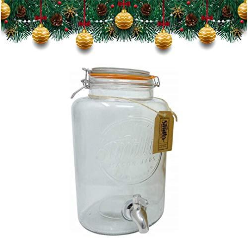 Smiths Mason Jars Dispensador de Bebidas de 5 litros con espita de Acero, sin Malla de Alambre y Etiqueta de Regalo. Es el Enfriador de Bebida definitiva