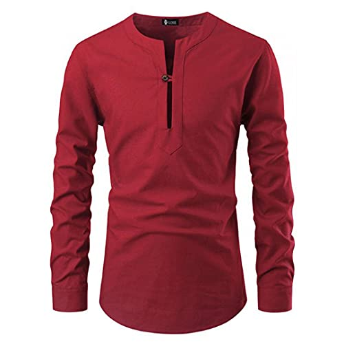 Ctcegtxfx Blusa casual de los hombres sin cuello camisa suelta Tops manga larga camisas primavera otoño casual masculino suéteres, Camisa Roja Hombre, XL