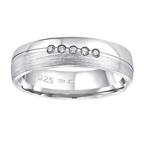 SILVEGO Damen Ehering aus 925 Sterling Silber PRESLEY mit Zirkonia