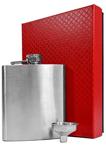 EYEPOWER Fiaschetta in Acciaio Inox 210ml + Imbuto + Elegante Confezione Regalo | Fiasca di Metallo Inossidabile 0,2 l per alcolici | Bottiglietta 7oz