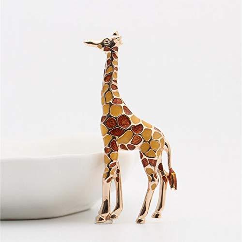 YAMAO Mujer Regalos Broche,Broches de Jirafa esmaltados para Mujeres, Broche de Animales Bonitos, joyería de Moda, Regalo de Color Dorado para niños