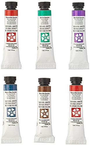 DANIEL SMITH Watercolor Set 5ml Tubes - Primatek Introductory Watercolor Set - 6 Tubes, 285610006
