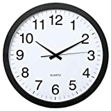 Hama Wanduhr XXL (Große Uhr ohne tickgeräusche, 40cm großes Ziffernblatt, geräuscharme und analoge Wohnzimmeruhr) schwarz