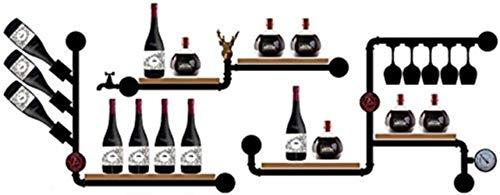 Modieuze wijnrek wandrek wijnrek bar deco retro modern drijvend wandrek wijnglas hout flessenrek Grootte: 180 x 65 cm