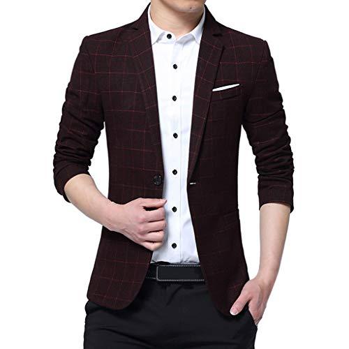 Brizz Herenmode met twee knopen voor het zelf kweken van een bedrijfsmantel in een effen banket, formele mantel voor heren, feestelijke jurk, geruit patroon, businessoverhemden, vrijetijdsoverhemden