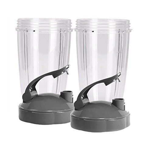 Blendin Flip Top To Go Lid with 24oz Tall Cup,Compatible with Nutribullet 600W 900W Blenders (2 Pack)