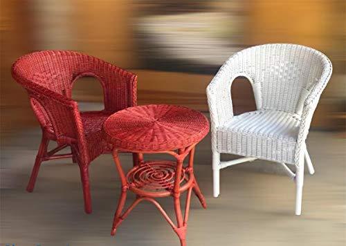 Rattansessel weiß+rot Esszimmersessel Rattanmöbel Rattan-Sessel Rattanstuhl Set mit Tisch