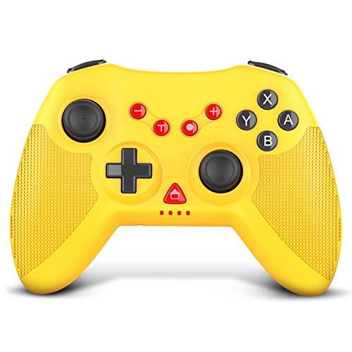 STOGA Controller Wireless per Nintendo Switch, Proslife Pro Gamepad Remoto per Controller Pro, Vibrazione a Doppio Motore e Funzione Turbo, Giroscopio a 6 Assi per Switch/Switch Lite - Giallo
