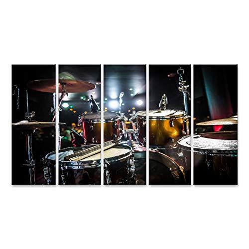 bilderfelix® Bild auf Leinwand Schlagzeug auf der Bühne Warnung - authentische Aufnahmen mit hohem Iso unter schwierigen Lichtverhältnissen Etwas leichte Körnung und verschwommene