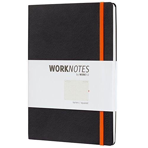 Worknotes Notizbuch b5 kariert - iPad Größe - Das Notizbuch für Kreative und Macher von Workflo, 128 perforierte Seiten, 80g/qm, Softcover, schwarz, Tablet Größe
