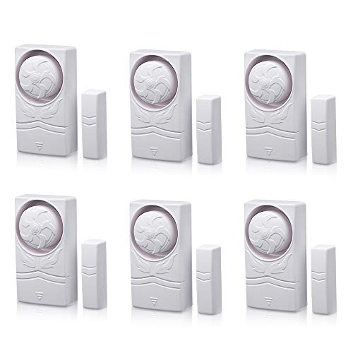 Wsdcam Door and Window Alarm for Home Time Delay Alarm Magnetic Window Alarm Sensors for Home Security, Loud 110 dB - 6 Pack