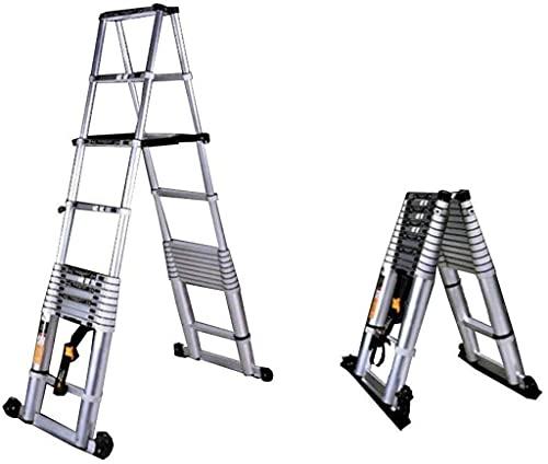XYXZ Household Ladder High Strength Telescopic Ladder 3.8M 10.5Ft Extension Folding Foldable - Multi Purpose Ladder Aluminum Diy Single Straight Style Climb Telescopic Ladder Exten