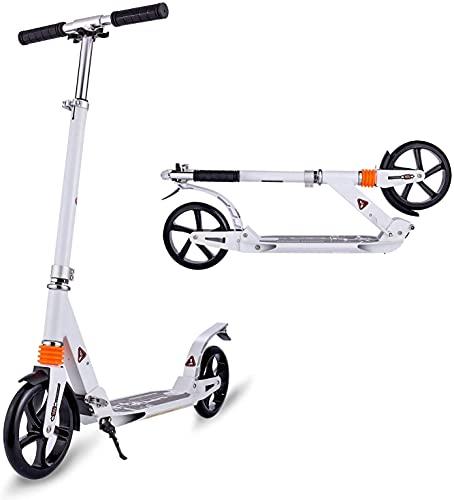Big Wheel200 Faltbarer City Scooter Roller, 4 höhenverstellbare stoßfeste PU-Räder, City-Roller für Kinde rüber 8 Jahre und Erwachsene (Weiß)
