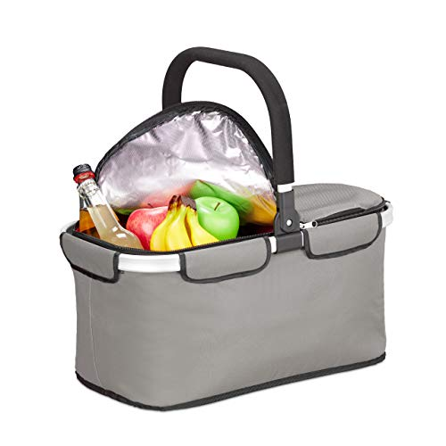 Relaxdays Einkaufskorb faltbar, mit Kühlfunktion, Thermokorb mit Henkel, 25 l, Deckel mit Reißverschluss, Kühlkorb, grau