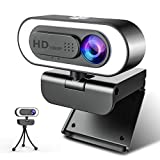 Webcam 1080P Full HD con Microfono, NIYPS Webcam per PC con Luce ad Anello e Treppiede Web Cam USB 2.0 /3.0 Laptop,Fisso e Mac per Videochiamate, Studio, Conferenza, Registrazione, Gioca a Giochi