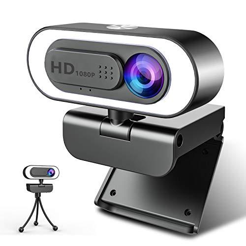 Webcam 1080P Full HD con Microfono, NIYPS Webcam per PC con Luce ad Anello e Treppiede Web Cam USB 2.0  3.0 Laptop,Fisso e Mac per Videochiamate, Studio, Conferenza, Registrazione, Gioca a Giochi