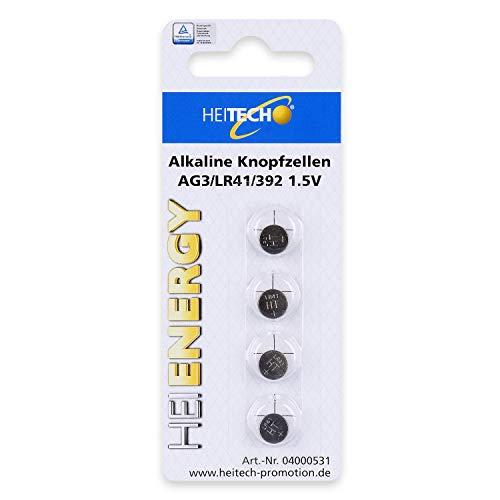 HEITECH 4er Pack AG3 Alkaline Knopfzellen Batterie TÜV geprüft 1,5V - LR41 / L736 / LR736 / SR41 / SR736W / SR41W / 192/392 - Knopfbatterien auslaufsicher & mit Langer Haltbarkeit