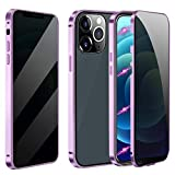 Magnetic Case for iPhone 7 Plus/8 Plus, Anti Peep Magnetic Double-Sided Privacy Screen Protector Clear Back Metal Bumper Antipeep Cases Anti Peeping 2 Sided Cover for iPhone 7 Plus/8 Plus-Purple