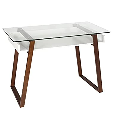 Poly and Bark Segovia Desk in Walnut, Glass Top