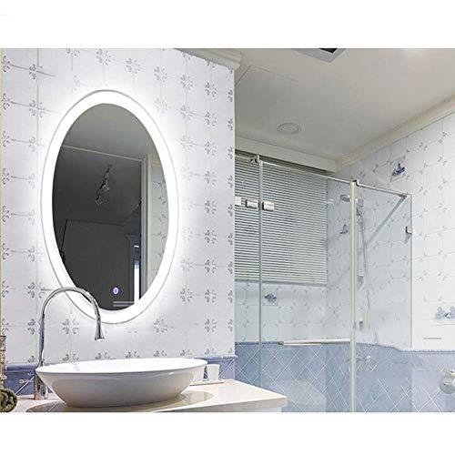 JFFFFWI Espejo de baño Espejo de baño LED Ovalado de 50/60 cm Espejo de baño Minimalista Europeo antivaho a Prueba de explosiones Pantalla de Pared (tamaño: 60x80 cm)