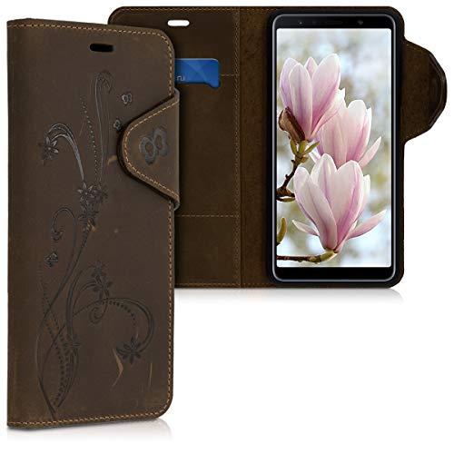 kalibri Hülle kompatibel mit Samsung Galaxy A7 (2018) - Leder Handyhülle - Handy Wallet Case Cover Ranken Schmetterling Braun