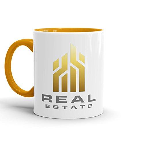 Werbetassen mit Logo - Set aus 72 Tassen - individuell mit Ihrem Firmenlogo bedruckt (innen goldgelb)
