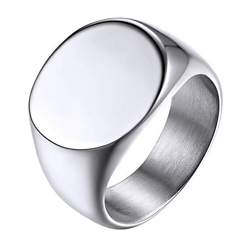 GoldChic Jewelry Size P½ Oval Signet Rings For Men, Stainless Steel Ring Jewellery Gift For Father Husband