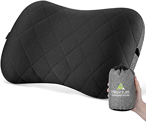 Hikenture Camping Pillow with Removable Cover - Ultralight Inflatable Pillow for Neck Lumber Support - Upgrade Backpacking Pillow - Washable Travel Air Pillows for Camping, Hiking, Backpacking (Black)