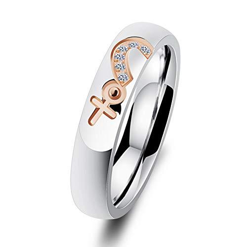 DJDLNK Liefdeshart roestvrij staal paar ringen mannen vrouwen ringen roségoud kleur kristallen ring geen verkleuring vrouwelijke accessoires