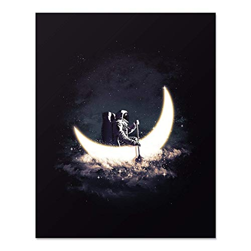 Outer Space Wall Art - Astronomy Artwork of Astronaut Rowing in Crescent Moon With A Universe of Stars 8 x 10 Inch Unframed Planet Decor