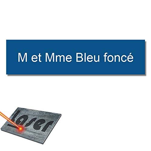 Mygoodprice Graveerplaat voor naam, brievenbus, zelfklevend, 99 x 24 mm, 1 tot 3 regels Donkerblauw