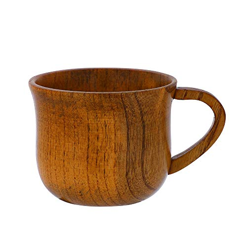 Wooden Beer Mug with Handle Handmade Premium Nordic Style Solid Wood Cup Portable Cup Coffee Mug Retro Round Drinking Cup Camping Mug Tea Cup Eco-Friendly for Kids and Adults Best Gift (Coffee)