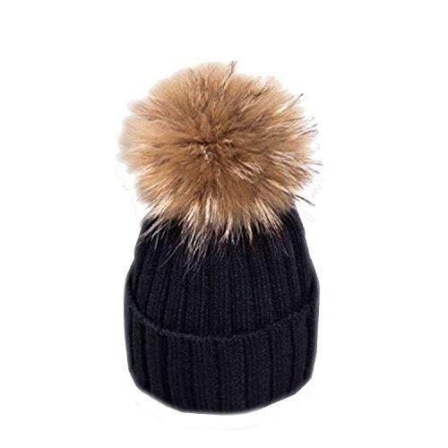ESYN Le donne inverno pelliccia di procione sfera Beanie di sport esterni casual Cappello di lana sci Bobble Protezione Con grande 15 centimetri Pompon (Black)