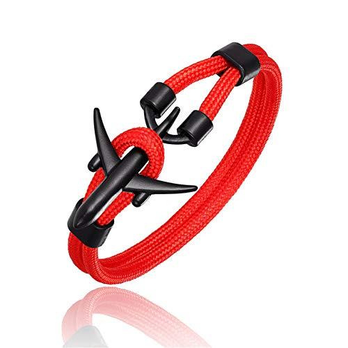 BQZB Pulsera Ancla de Moda Hombres Mujeres Pulseras de avión Charm Rope Chain Hope To Safe Jewelry 21cm Red