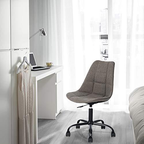FurnitureR Asiento Acolchado de Altura Ajustable Silla de Oficina con Base de Recubrimiento en Polvo y Ruedas giratorias, sin Brazos, fácil Montaje Gris