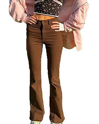 Springcmy Vaqueros elásticos para mujer, estilo vintage de cintura alta, pantalones de pierna ancha con fondo de campana A-brown M