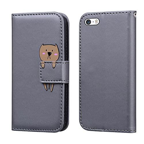 Norn Custodia per iPhone 5,iPhone 5s Flip Cover in pell PU Simpatico Cartone Animato con Portafoglio Caso,con Supporto Stand,Antiurto con Slot per schede,Magnetica a scatta,Grigio