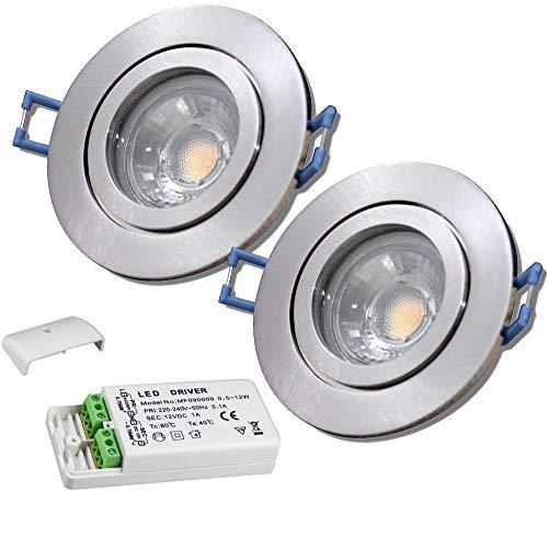 LED Bad Einbauleuchten 12V inkl. 2 x 3W LED LM Farbe Eisen geb. IP44 LED Einbaustrahler Neptun Rund 3000K mit Trafo