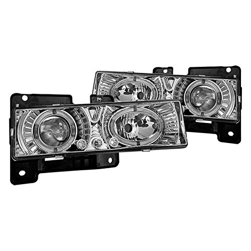 Winjet Headlights Compatible With 1988-1998 GMC CK Factory Style Chrome Clear Headlamp Assembly Kit Driving Light | 1993 1994 1995 1996 1997 1998